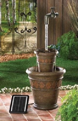 backyard faucet and drinking fountain outdoor solar and electric powered water fountain jug