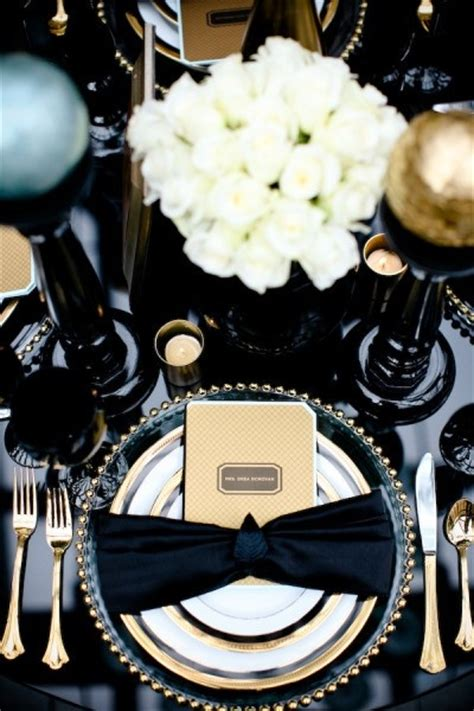 black and gold table setting black gold table setting great gatsby tables