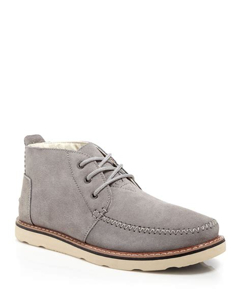 mens grey chukka boots toms suede chukka boots in gray for lyst