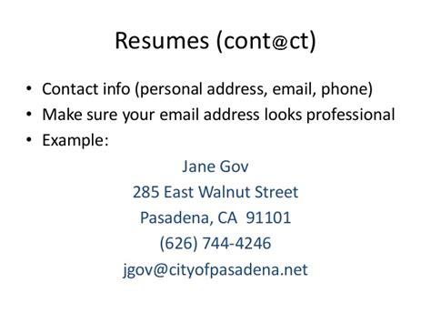 Resume Email Address Professional Resume Workshop Pasadena Library