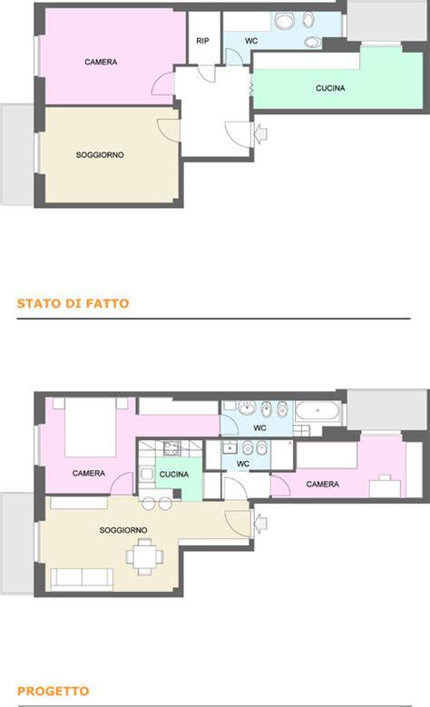 progetto appartamento 65 mq trasformazione di un bilocale in trilocale con doppi