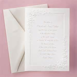 embossed roses invitation gt wedding invitations carlson craft wedding stationery products