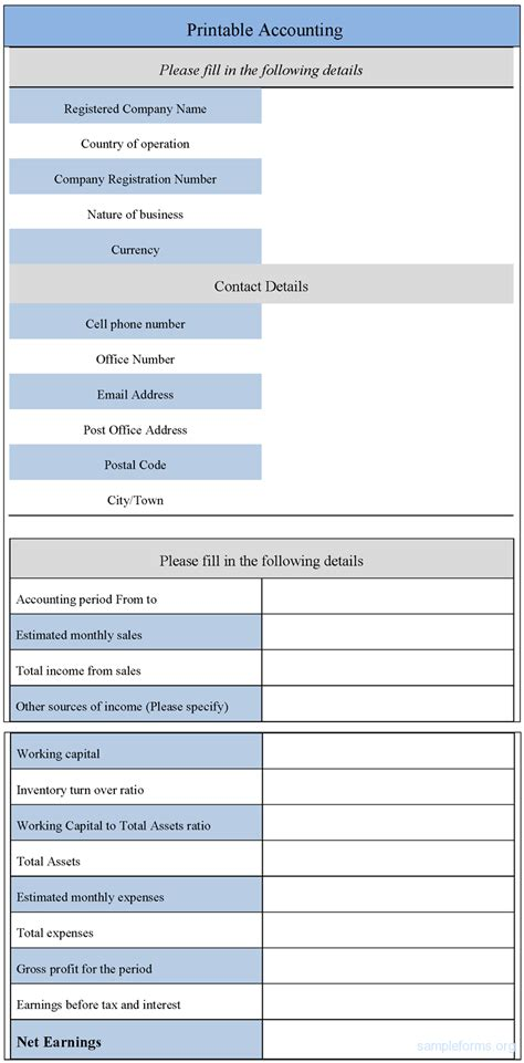 accounting form printable accounting form sle forms