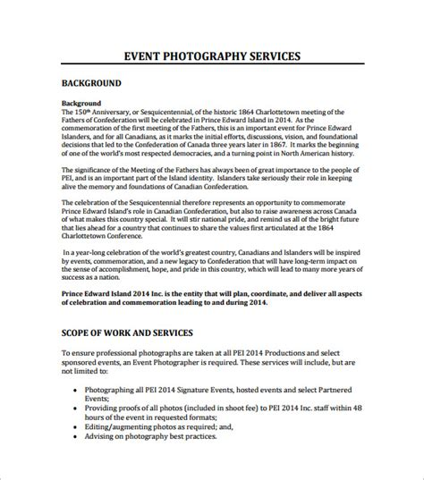 Event Proposal Template 16 Free Sle Exle Format Download Free Premium Templates Photography Rfp Template