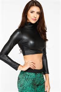 long sleeve faux leather crop top cicihot top shirt