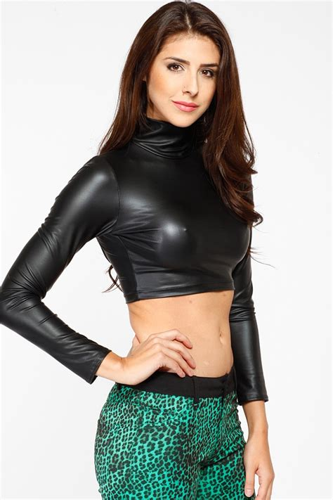 best leather sleeve faux leather crop top cicihot top shirt