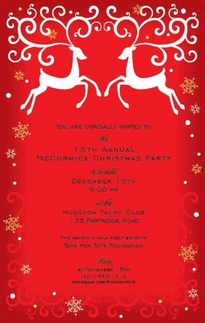 ornaments and gold starlights holiday invitation christmas