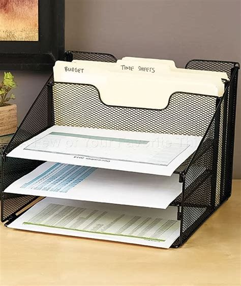 Desk Top File Organizer Black 5 Compartment Desktop File Organizer Office Supply Rack Desk Table Storage Ebay