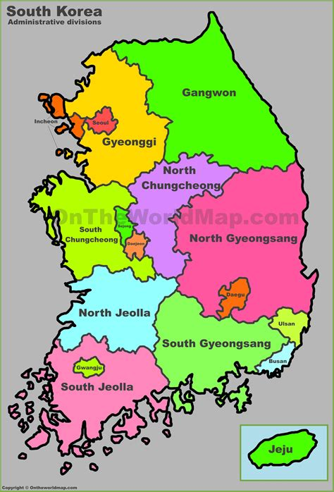 map of korea south korea administrative map