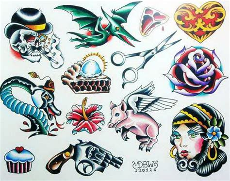neo traditional tattoo flash miscellaneous iii neo traditional flash sheet print
