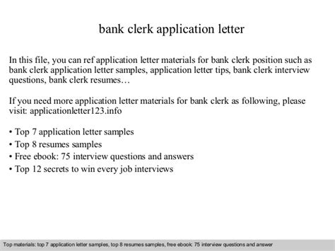 application letter for clerk bank bank clerk application letter