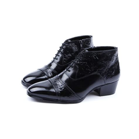 mens real leather wrinkle side zip closure black ankle boots
