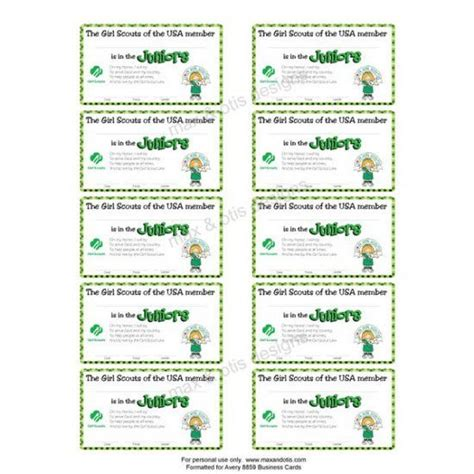 Printable Membership Cards Template by Scout Juniors Printable Membership Cards For