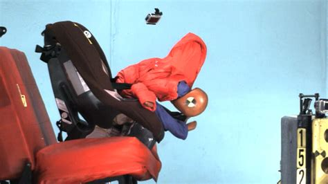 car seat cocooning in crash car seat alert a winter coat could endanger your child