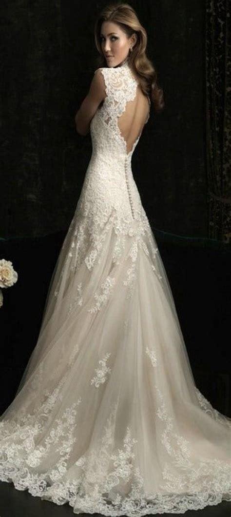 vintage v neck open back mermaid wedding dresses