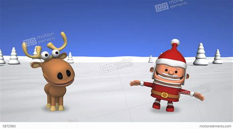 funny dancing santa claus and reindeer stock animation