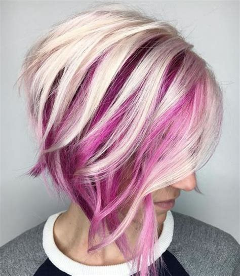 black stacked bob with purple balayage asymmetrical short haircuts with balayage highlights 2018