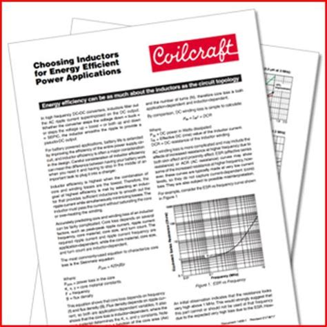 coilcraft selecting inductors coilcraft choosing inductors for energy efficient power applications eete analog