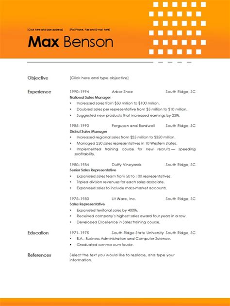 Resume Template On Word 2010 Word 2010 Resume Templates