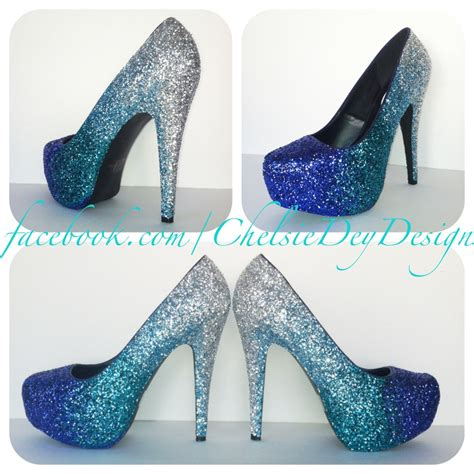 sparkley high heels glitter high heels ombre pumps platform by chelsiedeydesigns