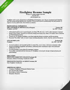 entry level firefighter resume