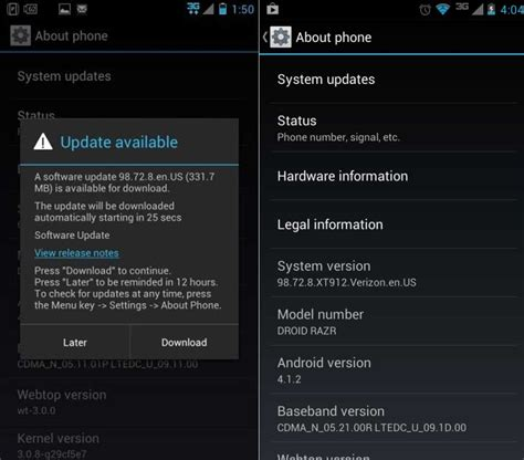 how to update android update motorola droid razr and droid razr maxx to android 4 1 2 jelly bean official firmware