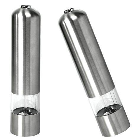 electric salt pepper mill grinder with light 2pcs electric stainless steel kitchen tool salt pepper