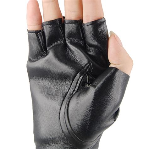 Minogue Rocks The Leather And Fingerless Gloves Look On Stage by Unisex Black Rock Studded Leather Look Fingerless