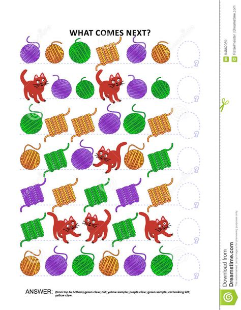 pattern recognition education knitting themed educational logic game sequential
