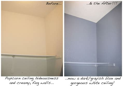 before and after scraping popcorn ceiling and painting