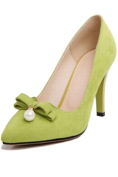 light green high heels light green suede imitation pearl decor heels 021758