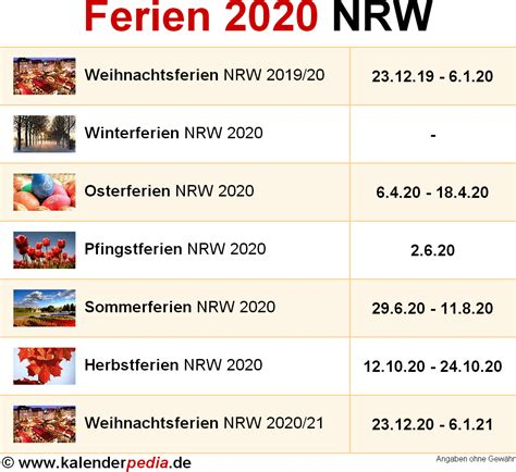 Kalender 2020 Rlp Ferien Nordrhein Westfalen Nrw 2020 220 Bersicht Der