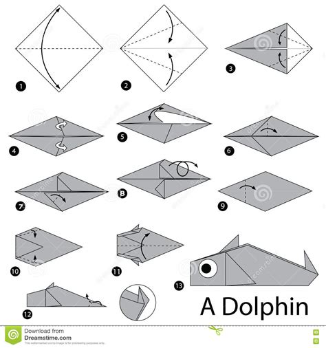 How To Make Paper Dolphin - step by step how to make origami a dolphin