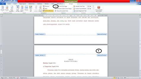 tata cara membuat nomor halaman cara membuat letak nomor halaman yang berbeda pada