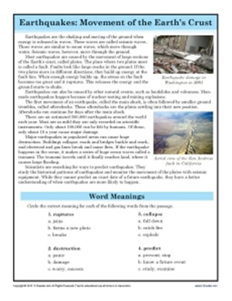 Reading Worksheets For 7th Grade by Passages For 7th Graders Teaching Tools For The