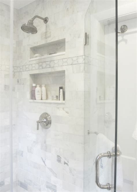 white marble shower surround transitional bathroom seventy five arlington