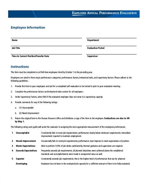 annual employee review template sle employee evaluation form 9 exles in pdf word
