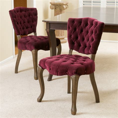 Purple Fabric Dining Room Chairs Christopher Home Bates Tufted Purple Fabric