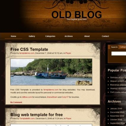 html templates for blogger free download old blog free website templates in css html js format