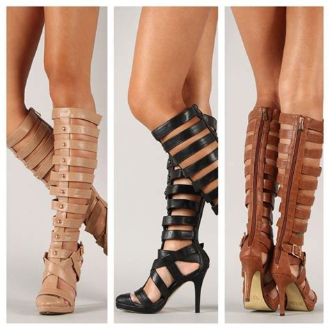 strappy knee high heels knee high strappy gladiator high heel from glamshoetique