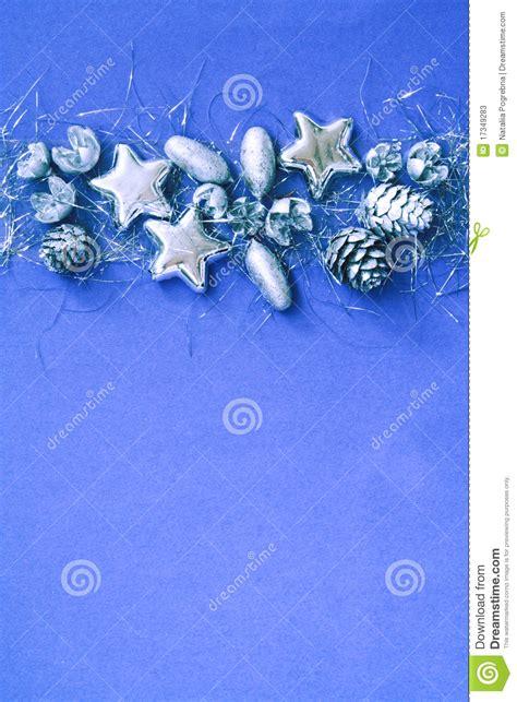 christmas silver and blue border stock photos image