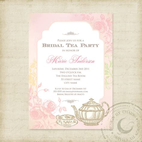 free printable bridal shower tea party invitations shabby chic bridal tea party printable invitation