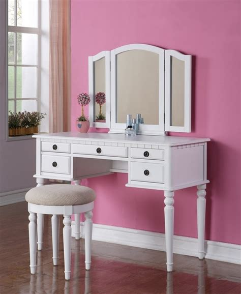 white bedroom vanities poundex f4074 white 5 drawer vanity set with mirror and stool modern kids bedroom vanities