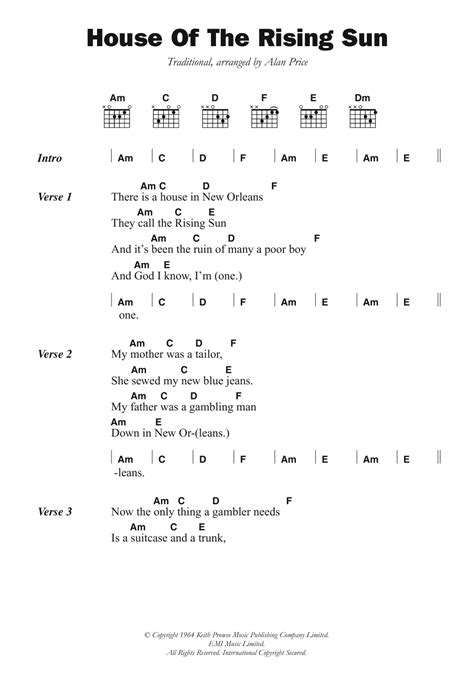 House Of The Rising Sun Chords Guitar