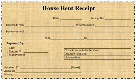 House Rent Receipt Template India Pdf by 600px