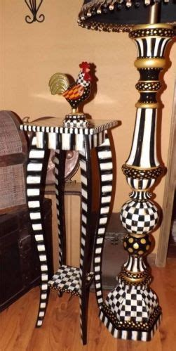 black white check  tall plant stand table hand painted