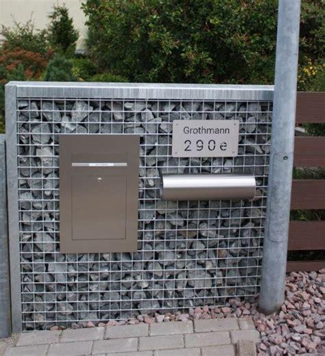 Briefkasten Einbau Mauer by Gabionen Briefkastens 228 Ule Steelmanufaktur