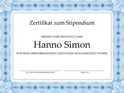 Word Vorlage Zertifikat Zertifikat Zum Stipendium Formeller Blauer Rahmen