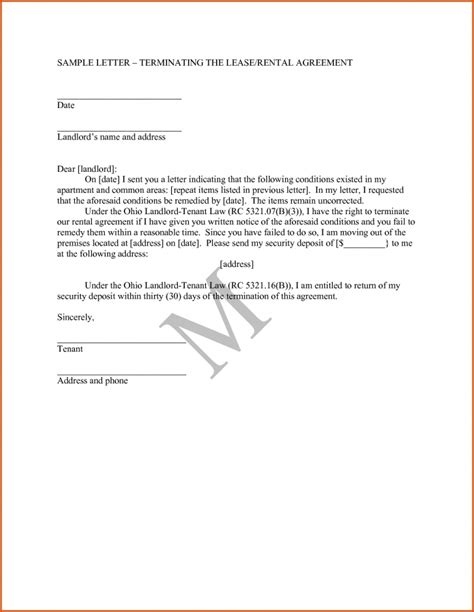 termination letter format for rental agreement letter of agreement sles template