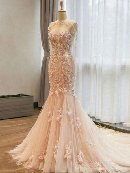 long sleeve blush pink mermaid lace long evening prom